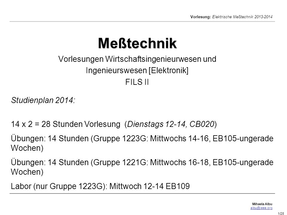 Meßtechnik Vorlesungen Wirtschaftsingenieurwesen und Ingenieurswesen [Elektronik] FILS II